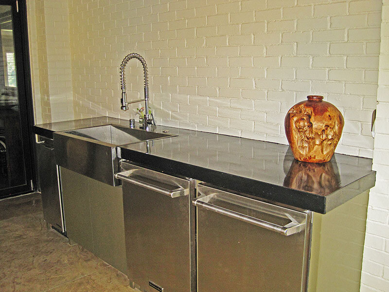 another view of reflective surface of black concrete countertops