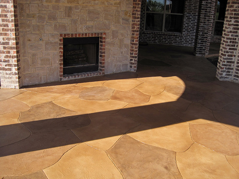 fireplace on trowel down overlay