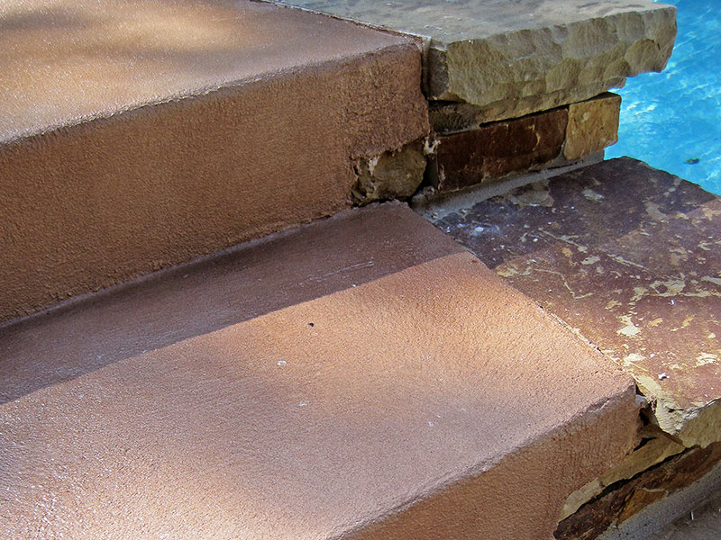 step that has been skim coated