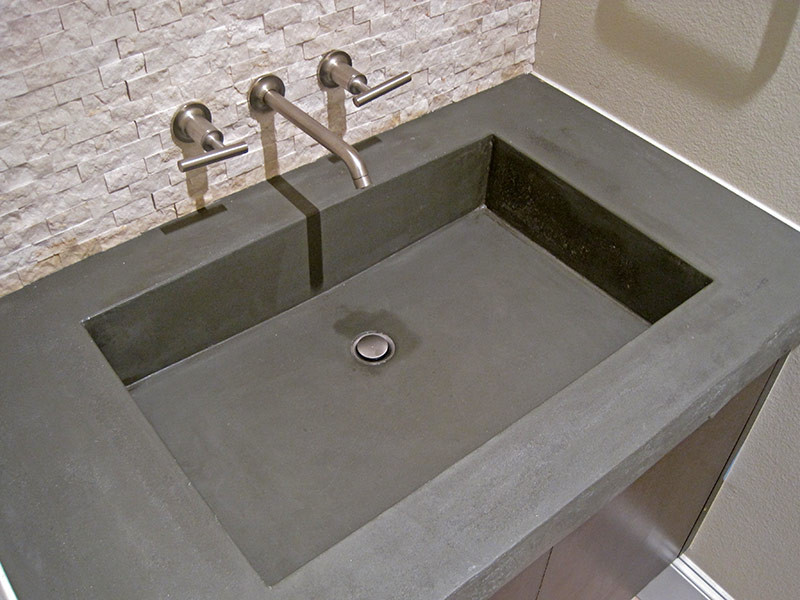 top view of integral concrete bathroom sink