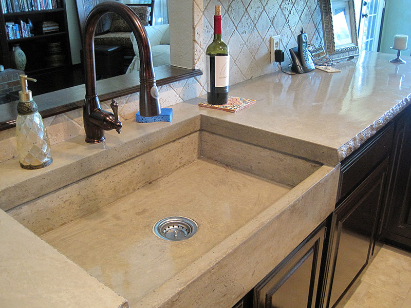 mesa buff colored concrete farmhouse sink