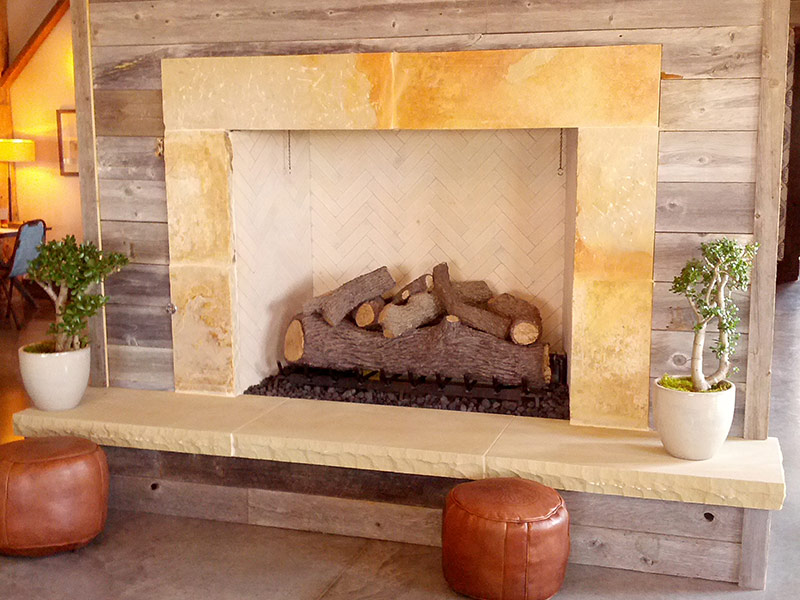 original limestone fireplace hearth