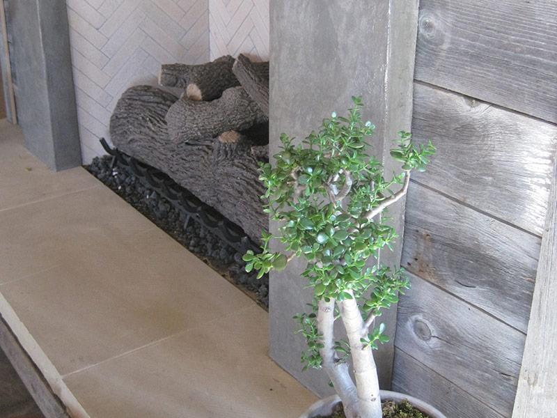 closeup of concrete fireplace hearth