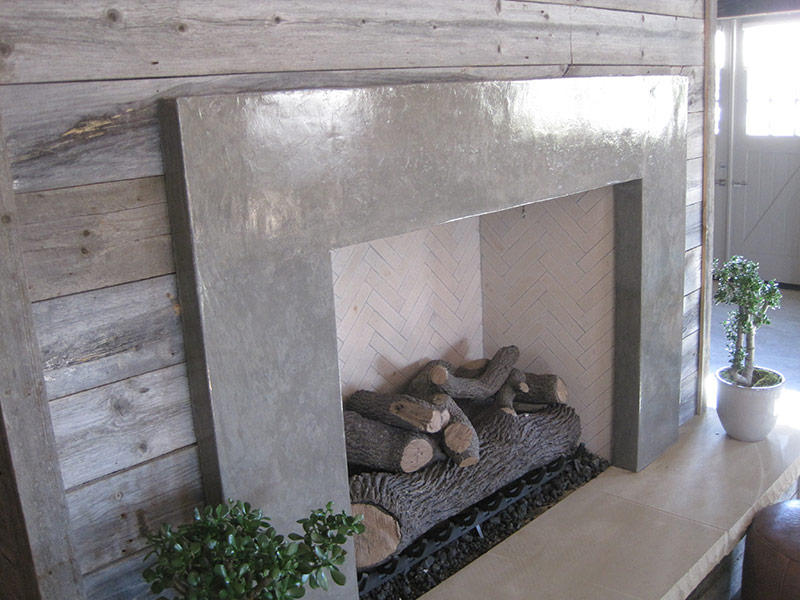 other side view of the concrete fireplace hearth