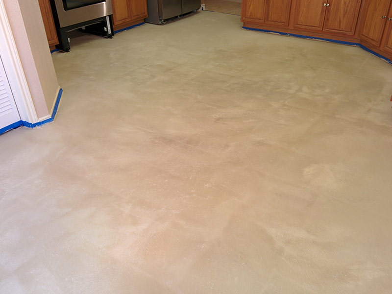 tiled floor after applying microfinish overlay