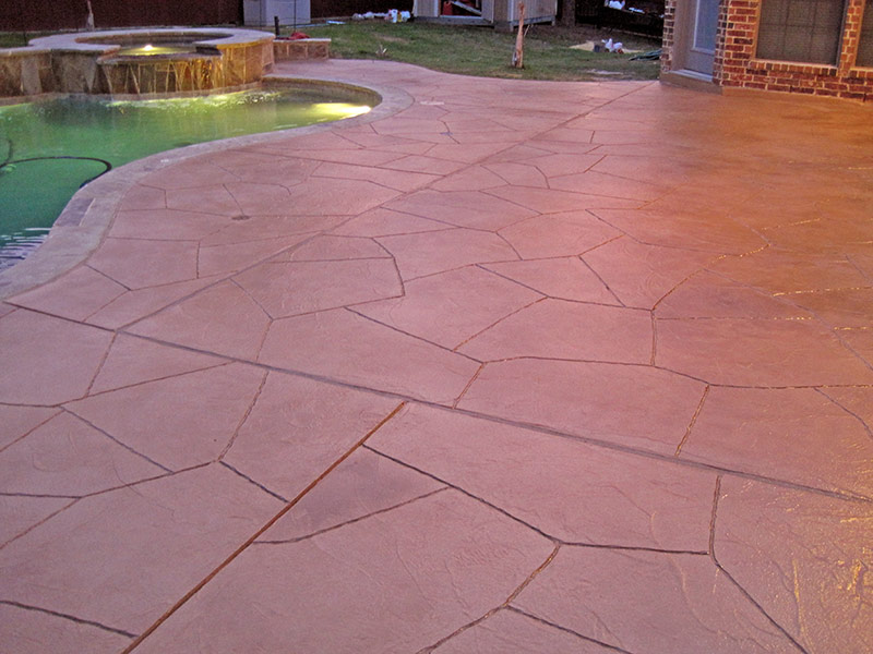 another view of the finished trowel down overlay on patio
