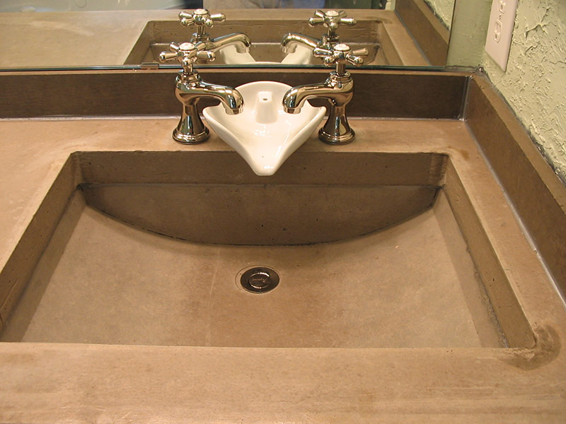 front view of gray trough sink