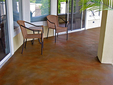 stained concrete patio that had a concrete skim coat applied