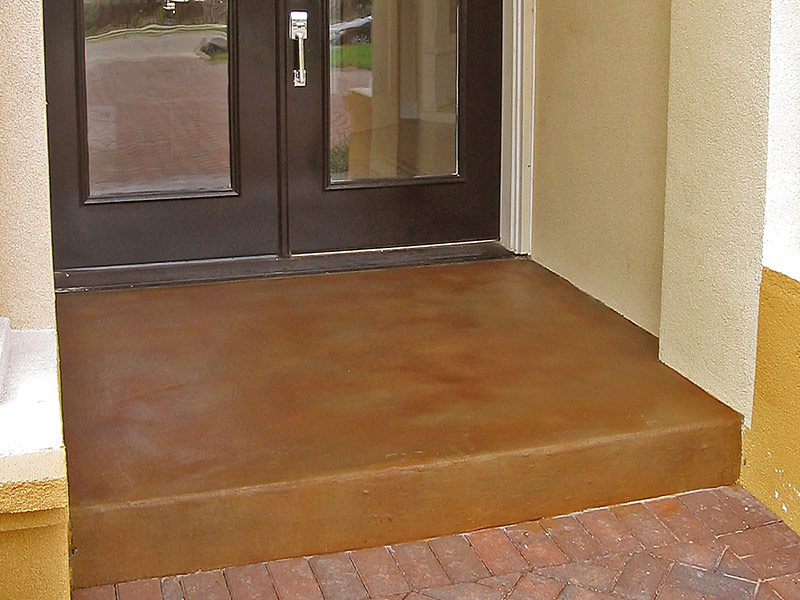 stained concrete entryway