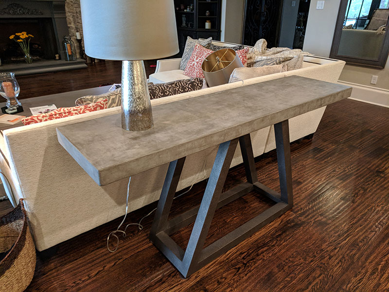 newly installed concrete sofa table top