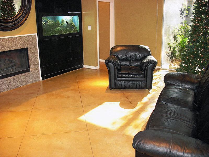 tan colored trowel down floor