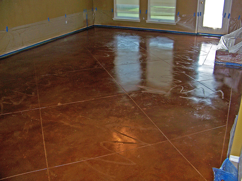 glue lines still visible in acid stained floor