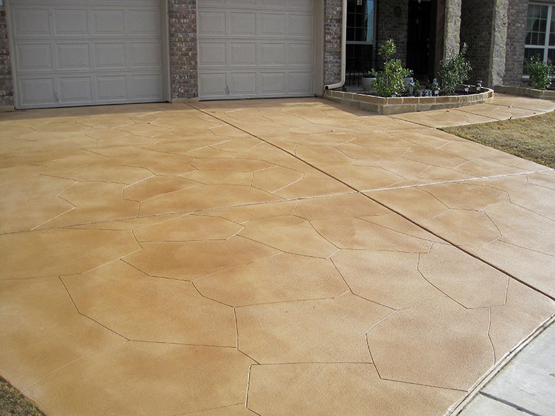 front view of skim coat on driveway