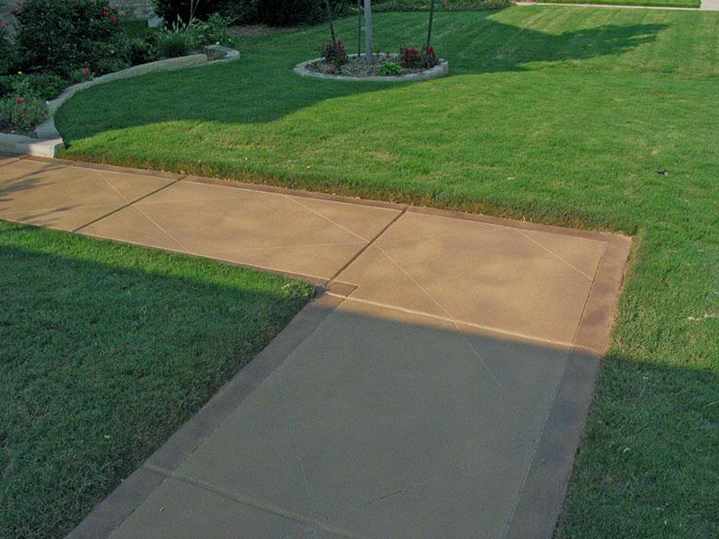 sidewalk that has a skim coat overlay