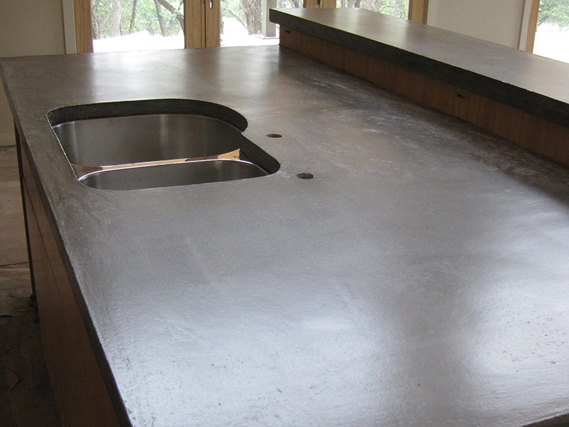 gray concrete countertop with undermount sink