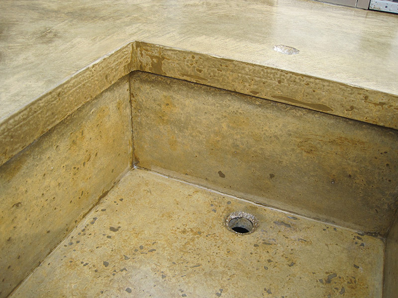 closeup of concrete sink
