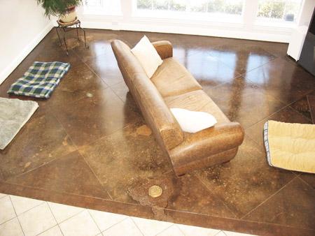 ground area on acid stained floor