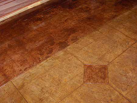 floating diamond pattern scored in floor
