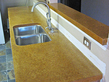 umber acid stained concrete countertop