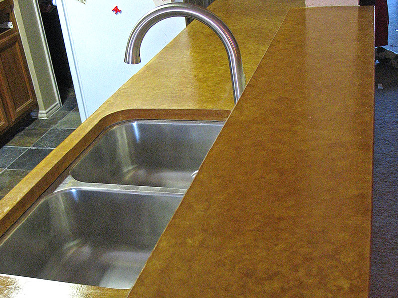 another view of stained concrete countertop with sink