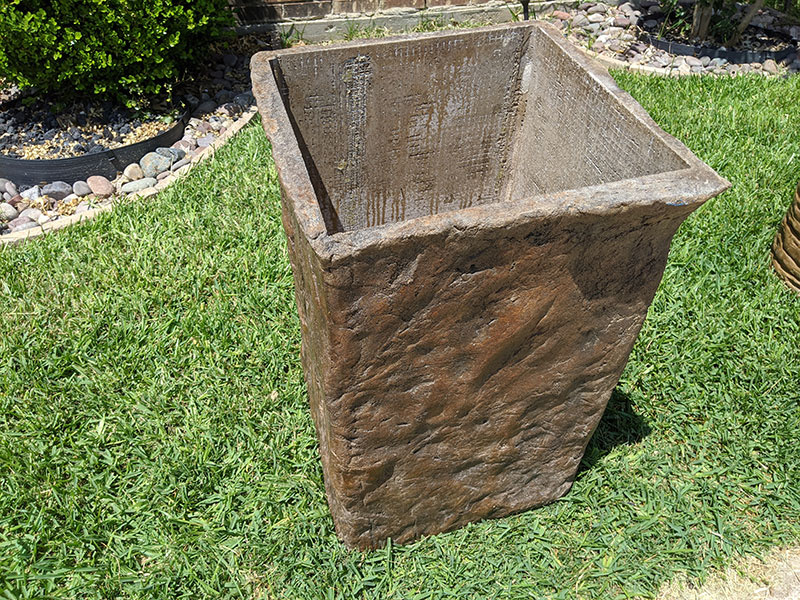 tall rectangular concrete planters
