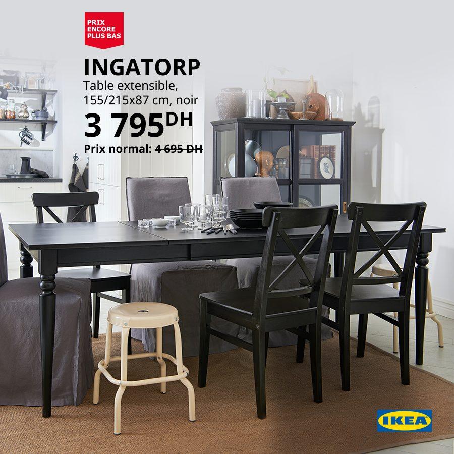 soldes ikea maroc table extensible noir
