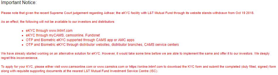 KYC for Mutual Fund online