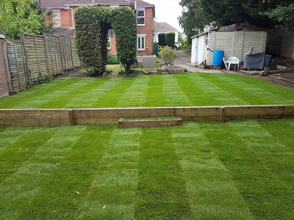 Fresh Turfing with Step Project for a Hamble, Hampshire Garden on 2 Level Backyard Ideas id=78845