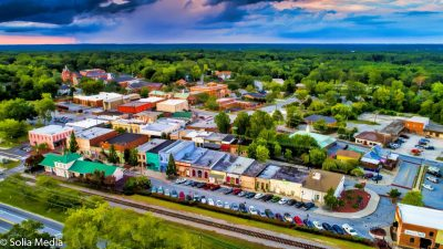 Drone Shot of Olde Town Conyers - Solia Media