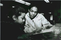 AmeriCorps Program supervisor Kim Gordon tutoring, circa 1999