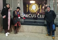 ARI Caucus members Jordan, Liz & Arturo outside Detroit's Caucus Club