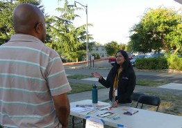An attendee learns what Neighborcare Health has to offer.