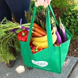 Whole Foods Market shopping bag filled with groceries