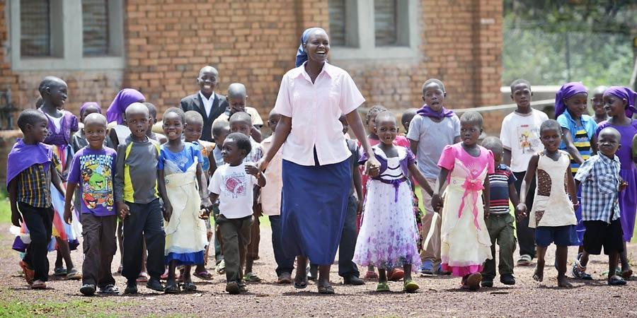 South Sudan children with teacher