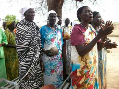 Women of Abyei singing at South Sudan Sunday Mass