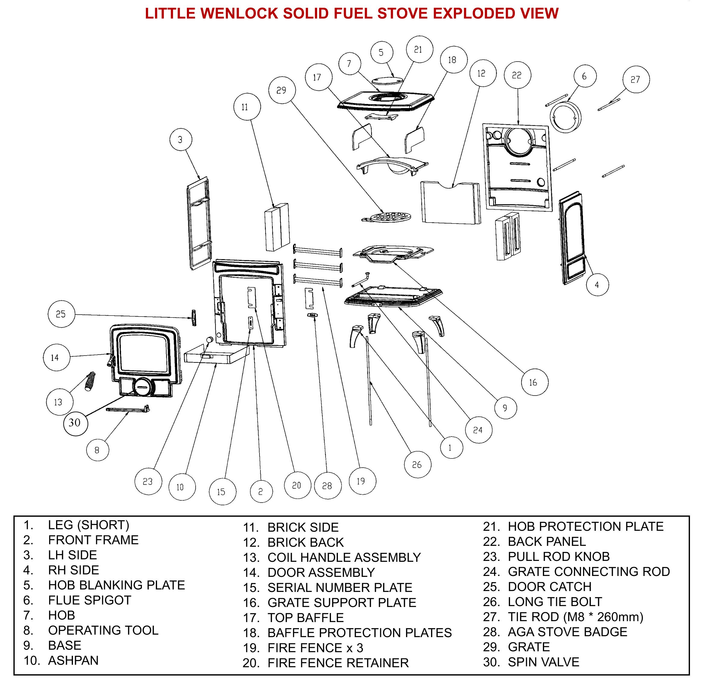 Aga Little Wenlock Stove Spares Amp Parts