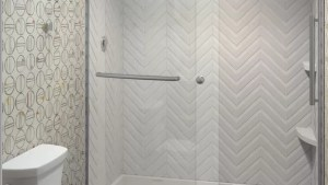 Light Texture Cultured Marble Shower Walls With Back