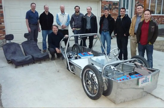 Jim and the Urbee project team behind the Urbee frame.