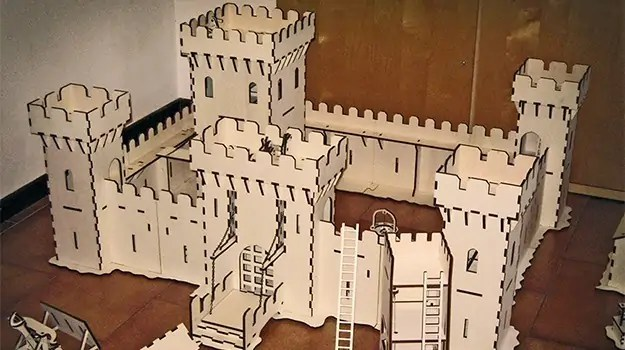 Laser Cut Castle Scene With Working Trebuchet And Catapult
