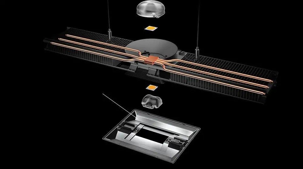 The CU-Beam broken-down to its base parts including custom lenses, LED luminaire board and heat-pipe technology.