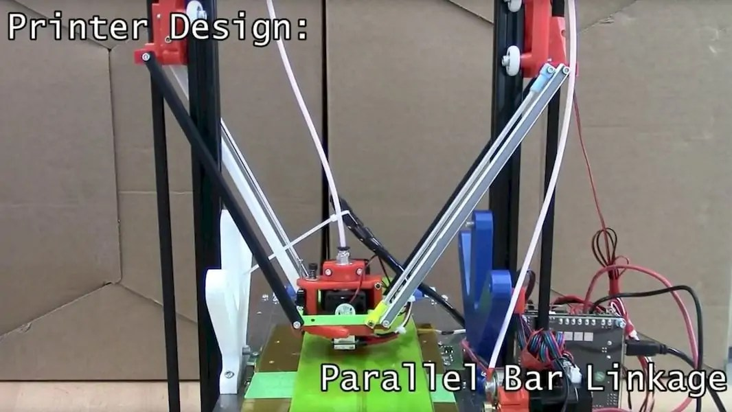 Unusual parallel linkage on the Workhorse 3D printer