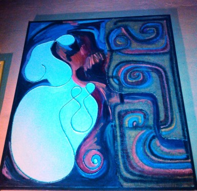Mother Godess Bearing Twins by Ruth Bianco, sackcloth on wood - 90s