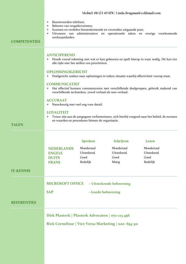 CV Voorbeeld Newport (Mean Green) 2/2, Voorbeeld cv gratis download, office cv, microsoft office cv sjabloon