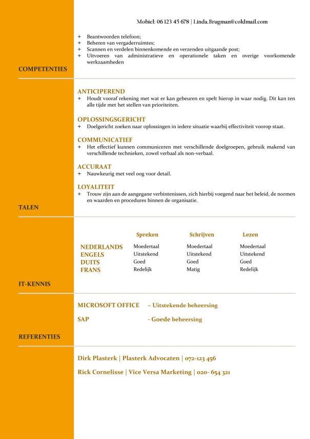 CV Voorbeeld Newport (Gold Standard) 2/2, gratis voorbeeld cv, top cv voor kantoorfuncties