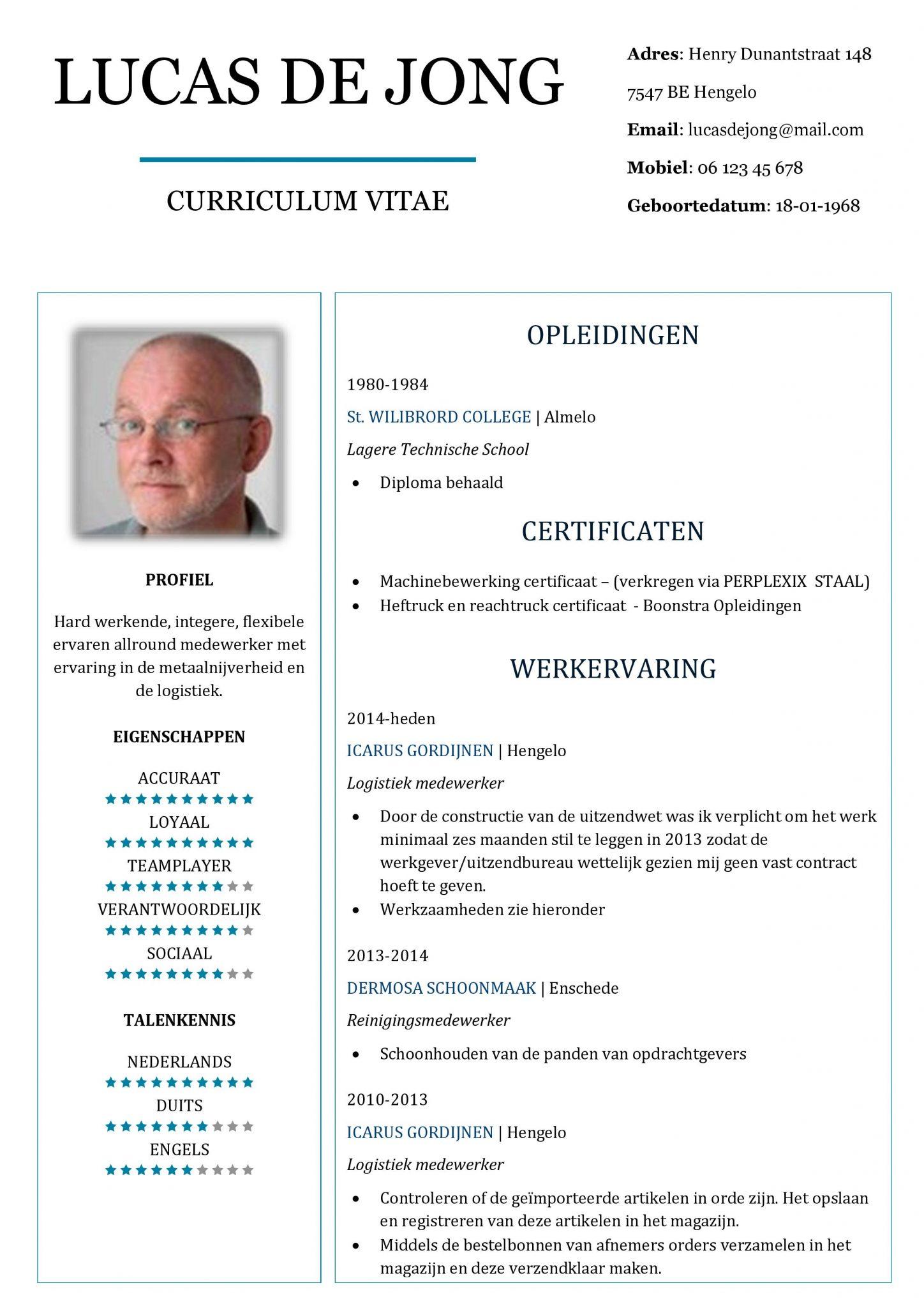 Super CV Voorbeeld Chesterfield - De Beste Gratis CV Sjabloon van Nederland! #IO62