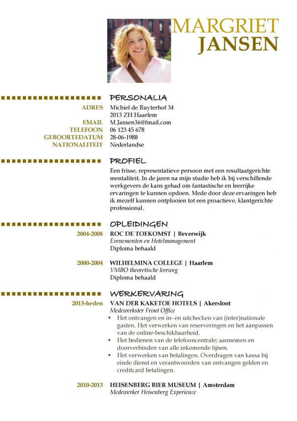 hoe maak je een cv? CV Voorbeeld Oxford (Gold Version) 1/2, top curriculum vitae