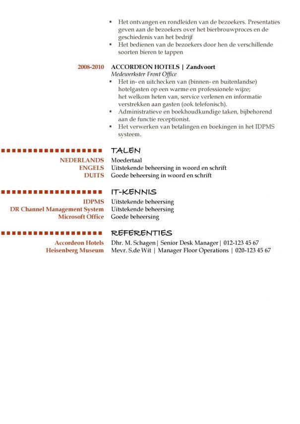 cv voorbeeld oxford (red hot) 2/2, beste cv sjabloon, unieke curriculum vitae, pagina 2