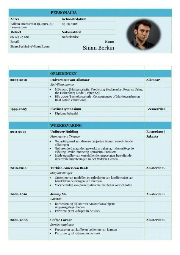 CV Voorbeeld Carlyle (Mixed Ocean) 1/2, gratis voorbeeld curriculum vitae