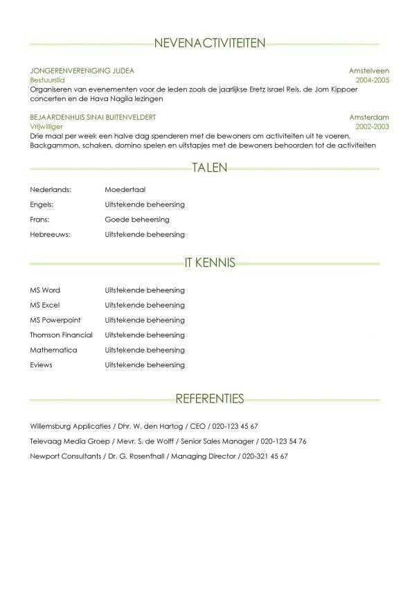 CV Voorbeeld Sheffield (Light Green) 2/2