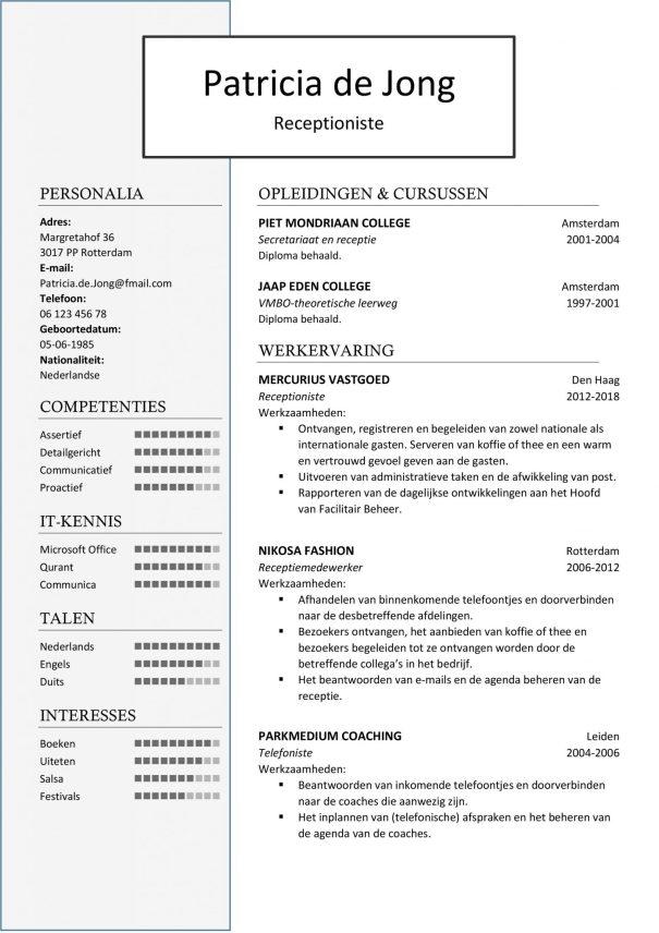 CV Sjabloon Birmingham 1-1 , cv voorbeeld receptioniste, receptiemedewerker, telefoniste